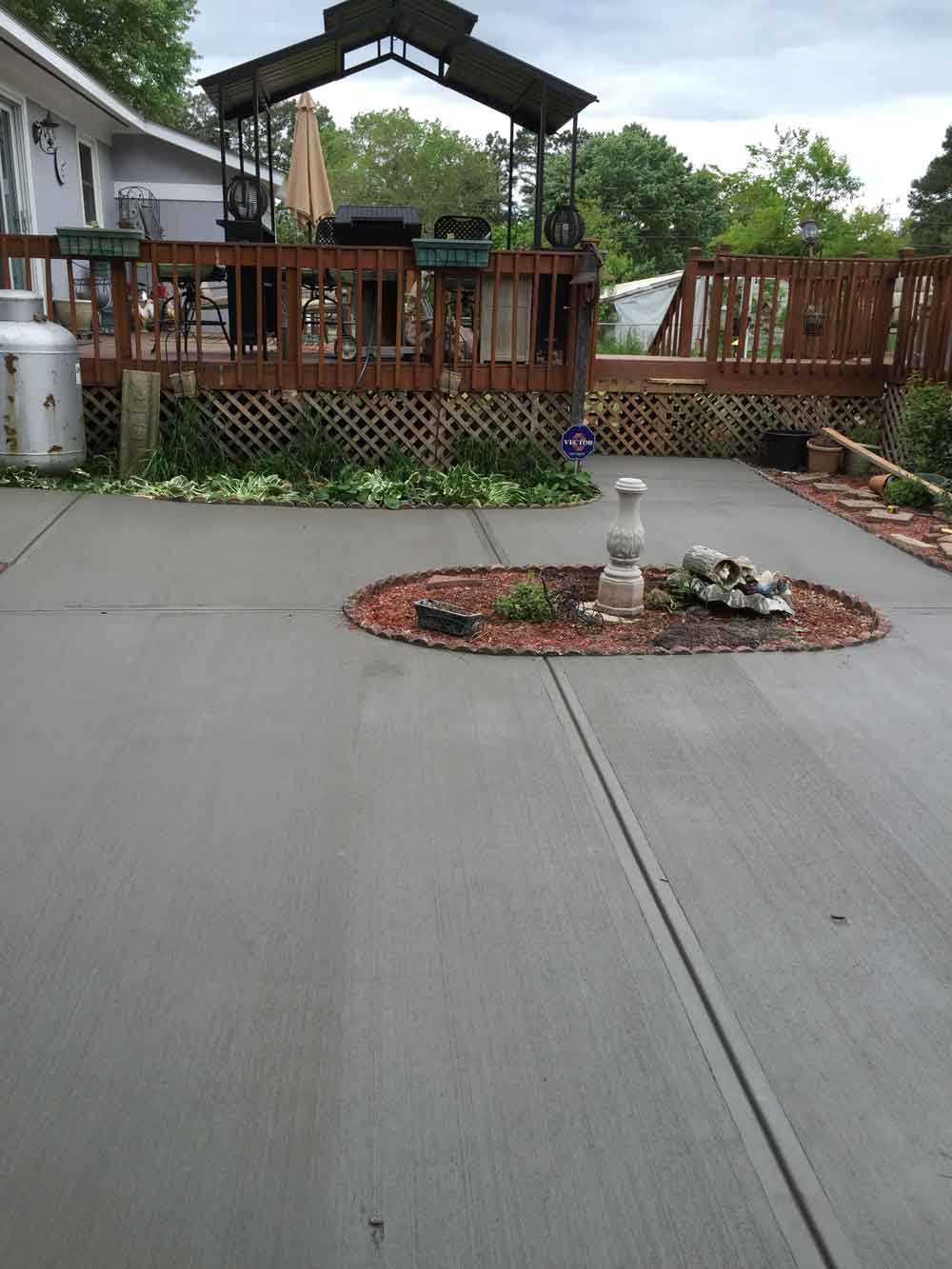 large concrete patio in Raleigh