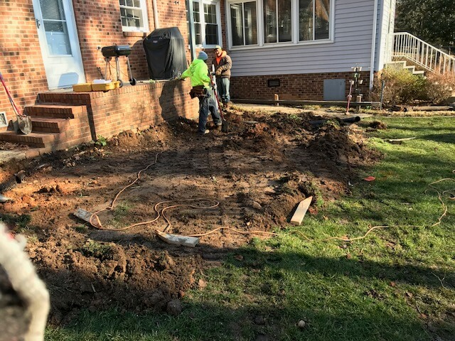 Concrete patio construction
